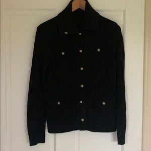 Ralph Lauren black cotton button rolled neck S